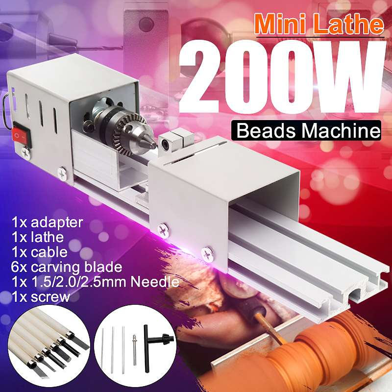 Professional 200W Mini Lathe Bead Machine Woodwork DIY Lathe Standard Set with Power Carving Cutter Wood Lathe Drill Rotary Tool