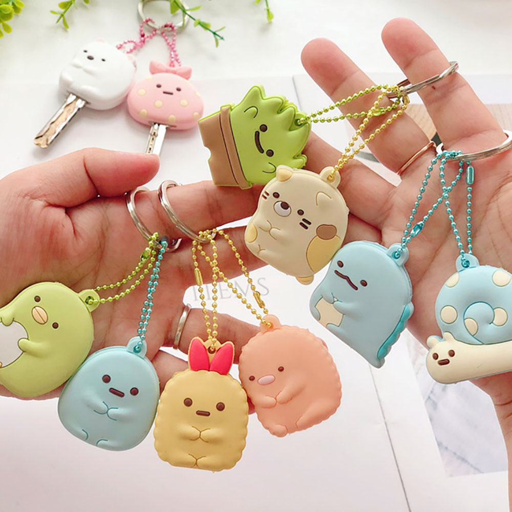 Cute Key Cap Key Covers Rings Key Identifier Tag Organizers Silicone Keychain Holder With Ball Chain New Arrival