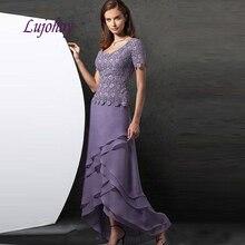 Vestidos de encaje Lila Madre de la novia vestidos de talla grande para bodas noche madrina novio cena vestidos