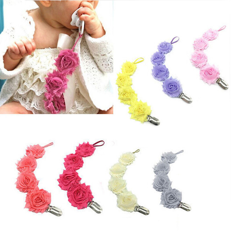 Baby Teething Soother Holder Strap Chain Baby Feeding Part Baby Infant Rose Flower Feeding Dummy Pacifier Clip For Nipples