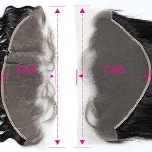 Image 3 - 13 × 6透明レースフロントストレート13 × 6 & 13 × 4レースフロンタルブラジルバージンヘアとベビーヘアー漂白ノット事前摘み取ら