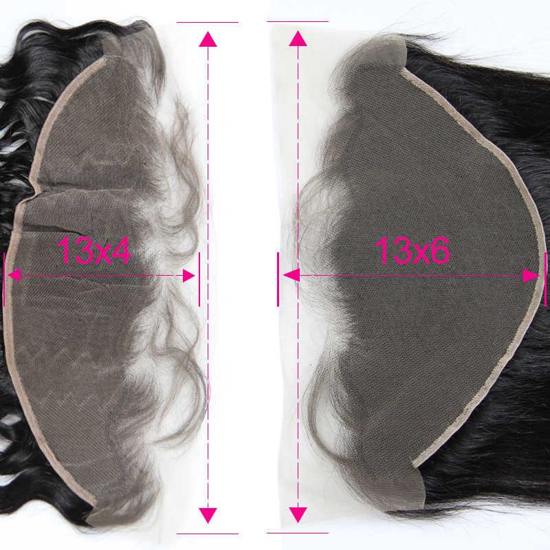 13X6 Transparant Kant Frontale Rechte 13X6 & 13X4 Lace Frontal Braziliaanse Virgin Haar Met baby Haar Gebleekte Knopen Pre Geplukt