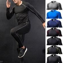 Хит, мужские спортивные костюмы для фитнеса, тянущиеся быстросохнущие костюмы с длинным рукавом, брюки, компрессионная Базовая слойная футболка, леггинсы