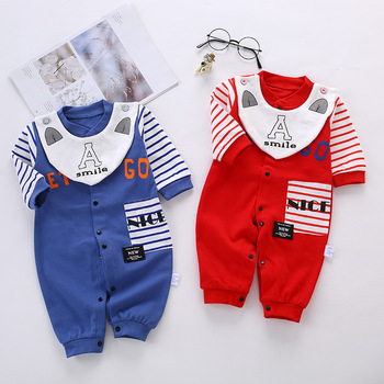 цена на Baby Boy Clothes Girl Jumpsuits Spring Newborn cotton Warm Romper Letter stripes Costume Baby Rompers Infant Boy Clothing