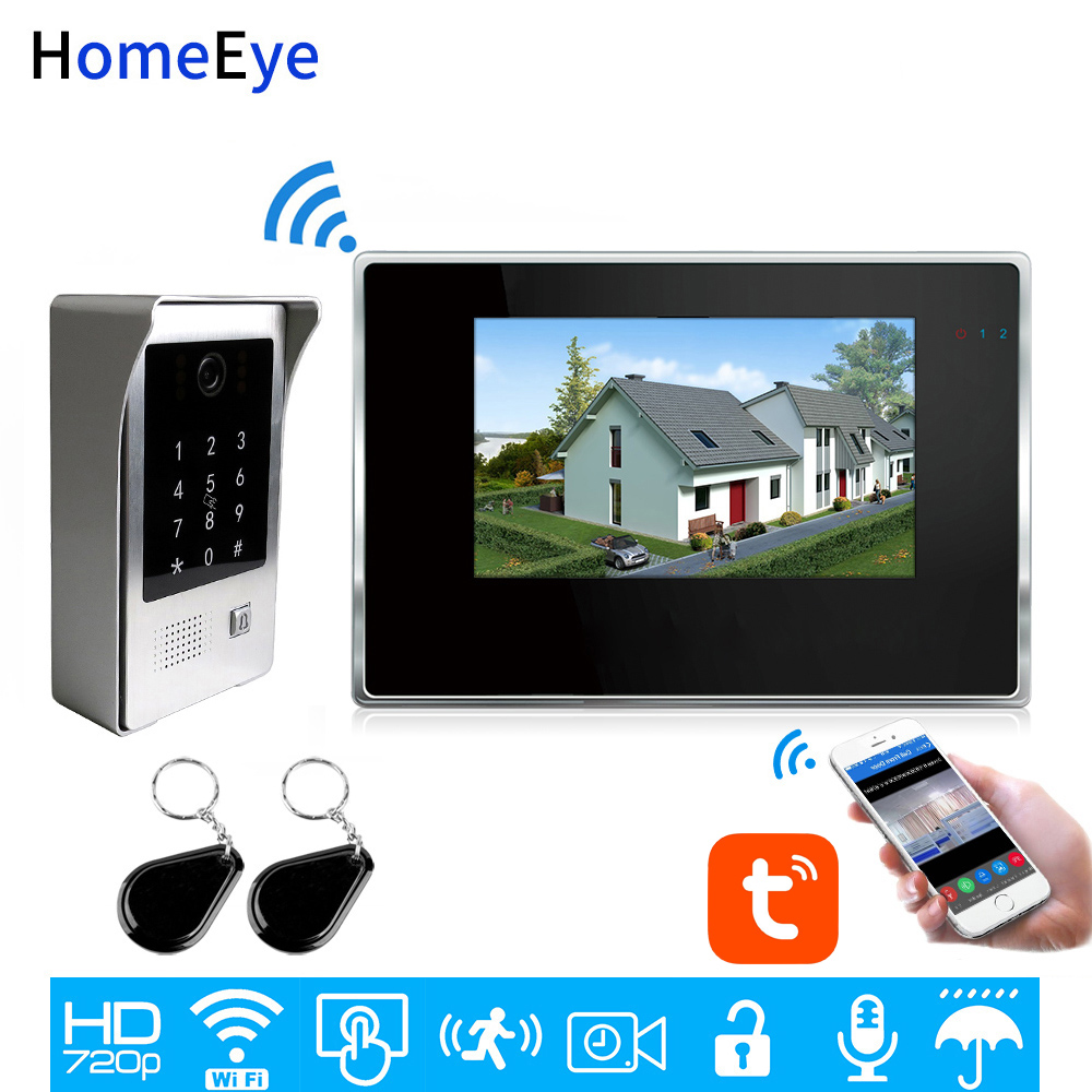 WiFi Video Intercom System IP Video Door Phone TuyaSmart App Remote Unlock Code Keypad+IC Card Home Access Control Touch Screen