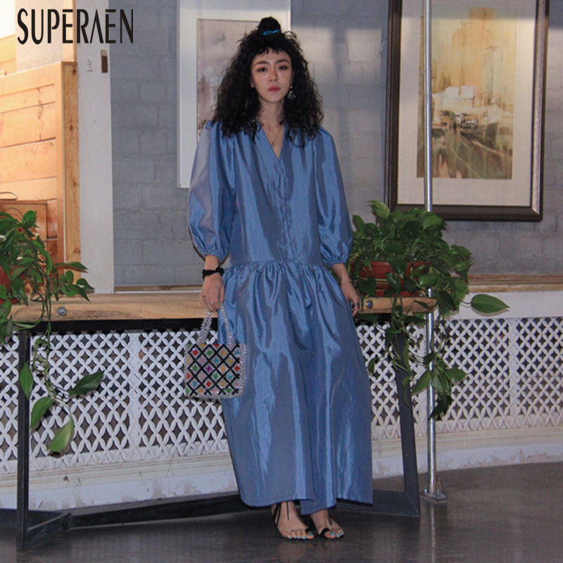 SuperAen Spring New 2020 Europe Women Long Dress V Neck Solid Color Ladies Dress Casual Fashion Women Clothing