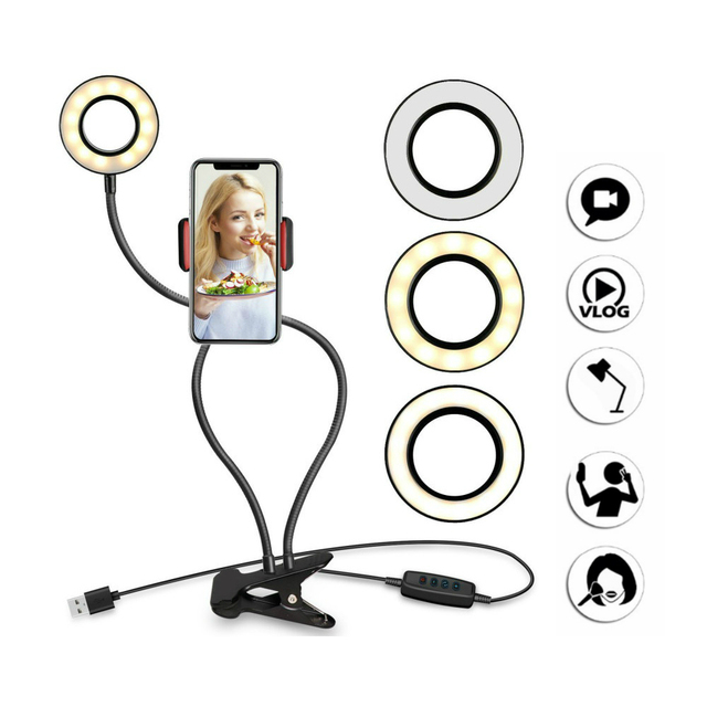 NOHON Mobile Phone Holder with LED Ring Light for Youtube Live Stream Makeup Camera Lamp Photo Studio Selfie for iPhone 11 Pro