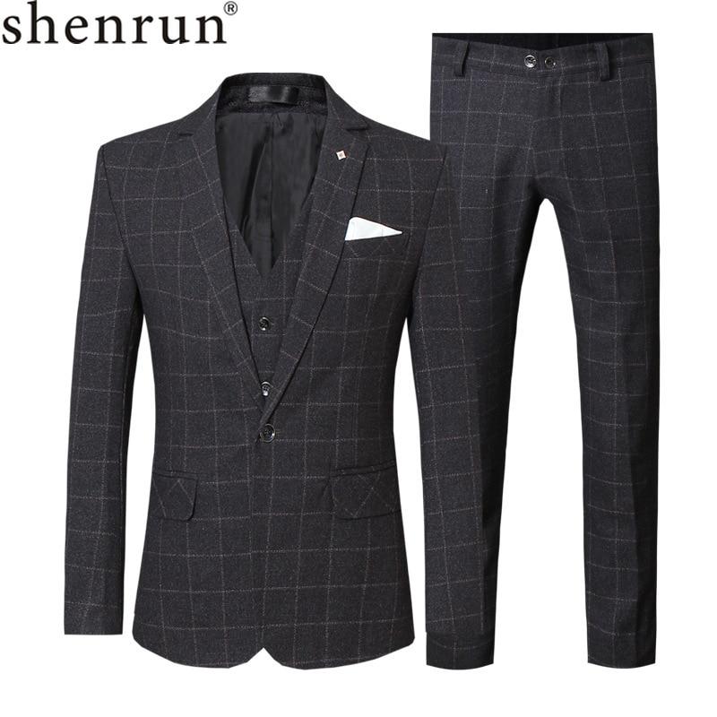Shenrun Men Suits Check Fashion Business Office Work Daily Life Formal Casual Suit Slim Fit 3 Pieces Black Blue Purple Big Size