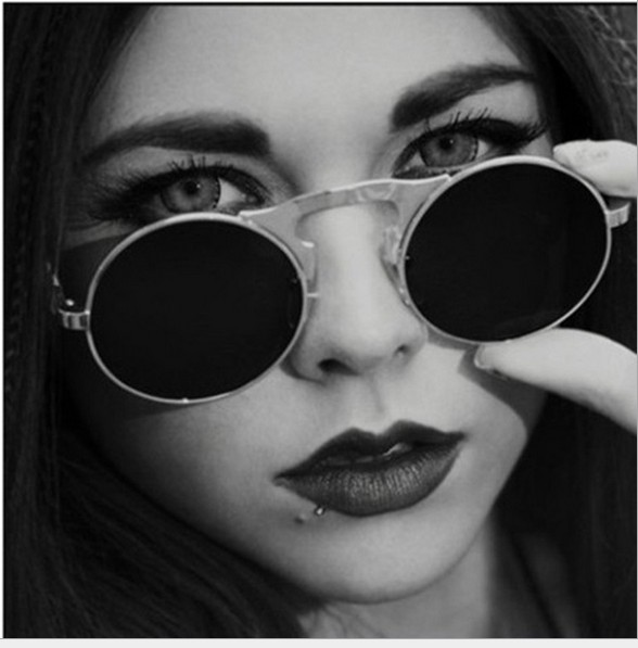 J31 VINTAGE STEAMPUNK Sunglasses round Designer steam punk Metal de - Apparel Accessories