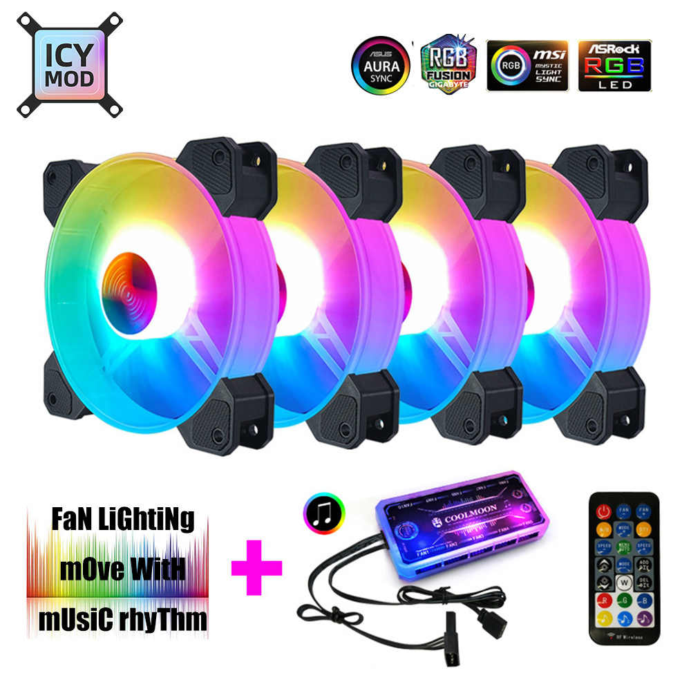 12Cm Rgb Fan 5V Muziek Ritme A-RGB Chassis Stille Ventilator Aura Sync Kit Musical Controle Water Cooler Custom voor Mod Verstelbare 120Mm