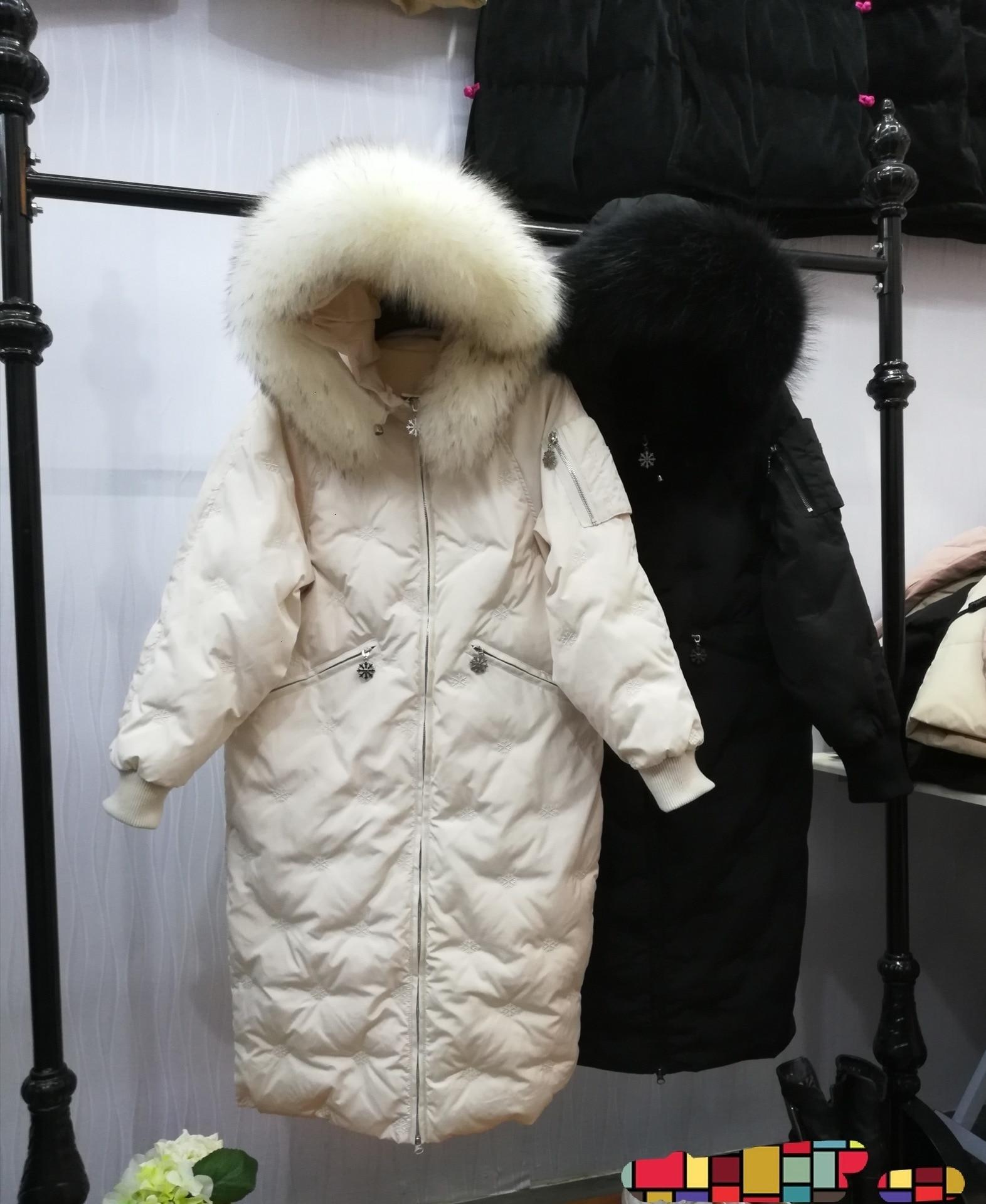 2019 femmes Super raton laveur cheveux plomb vestes filles Long fonds même chapeau épaississement vestes lâche manteau