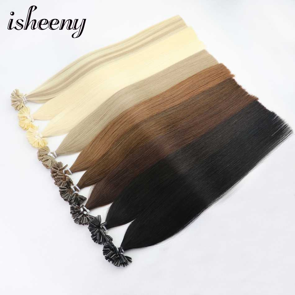 "Isheeny 12"" 14"" 18"" 22"" Remy Keratin U Tip Hair Extensions Silky Straight Pre Bonding Human Hair Extension Natural 50pcs"
