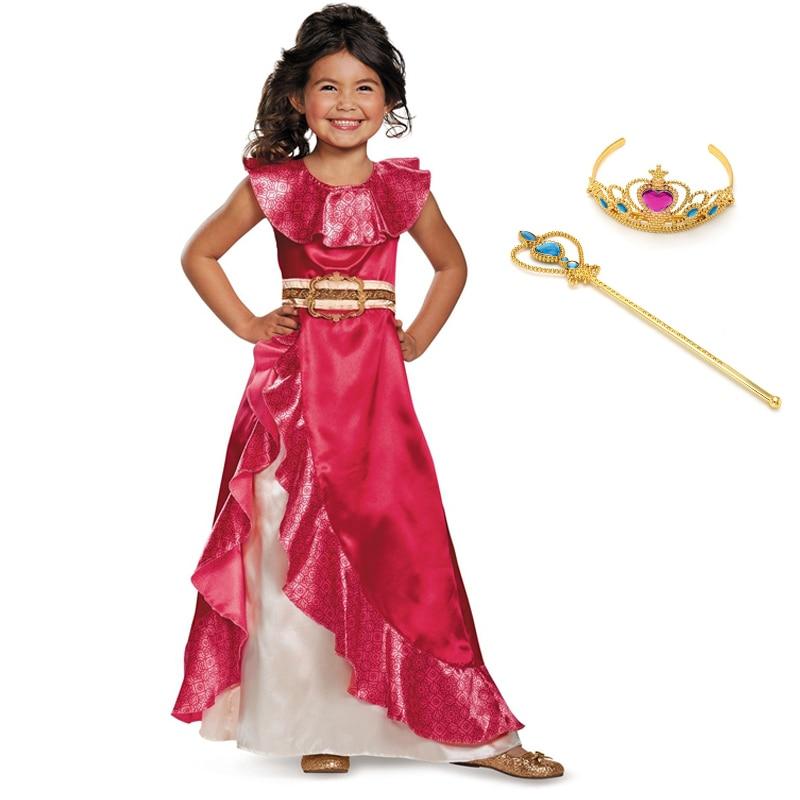 Fantasia da princesa elena clássica infantil, vestido vermelho cosplay da menina, avalor, elena, sem mangas, roupas de festa, dia das bruxas