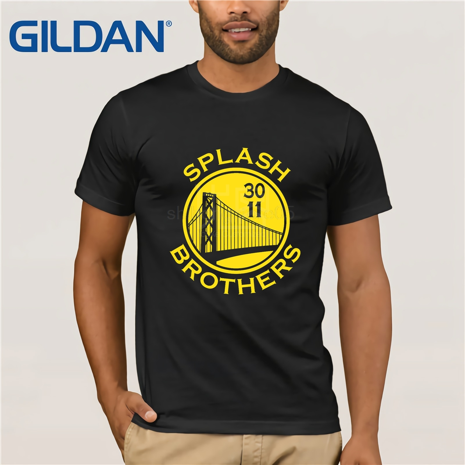Designer T Shirt Hot Sale Super  Creative Splash Brothers Shirt Golden State Stephen Curry Klay Thompson Men's Tees