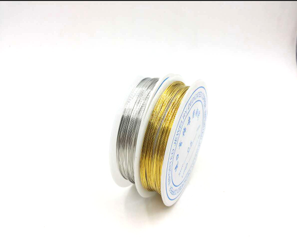 0.25/0.3/0.4/0.5/0.6/0.7/0.8/1mm 1 Roll Alloy Cord silver color Craft Beads Rope Copper Wires Beading Wire
