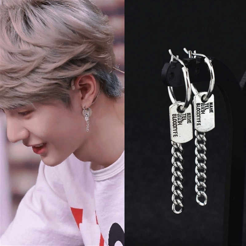 Fashion 1 Pasang Kpop DNA Korea Bintang V Bangtan Boys Album Jimin Stud Anting-Anting Huruf Perhiasan Stainless Steel Perhiasan Anting-Anting