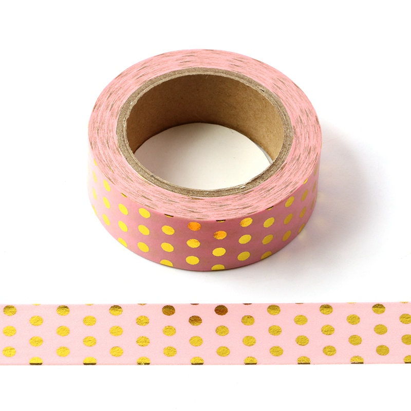 10M Decorative Gold Foil Washi Tape Pink Dots DIY Scrapbooking Sticker Label Japanese Masking Tape School Office Supply