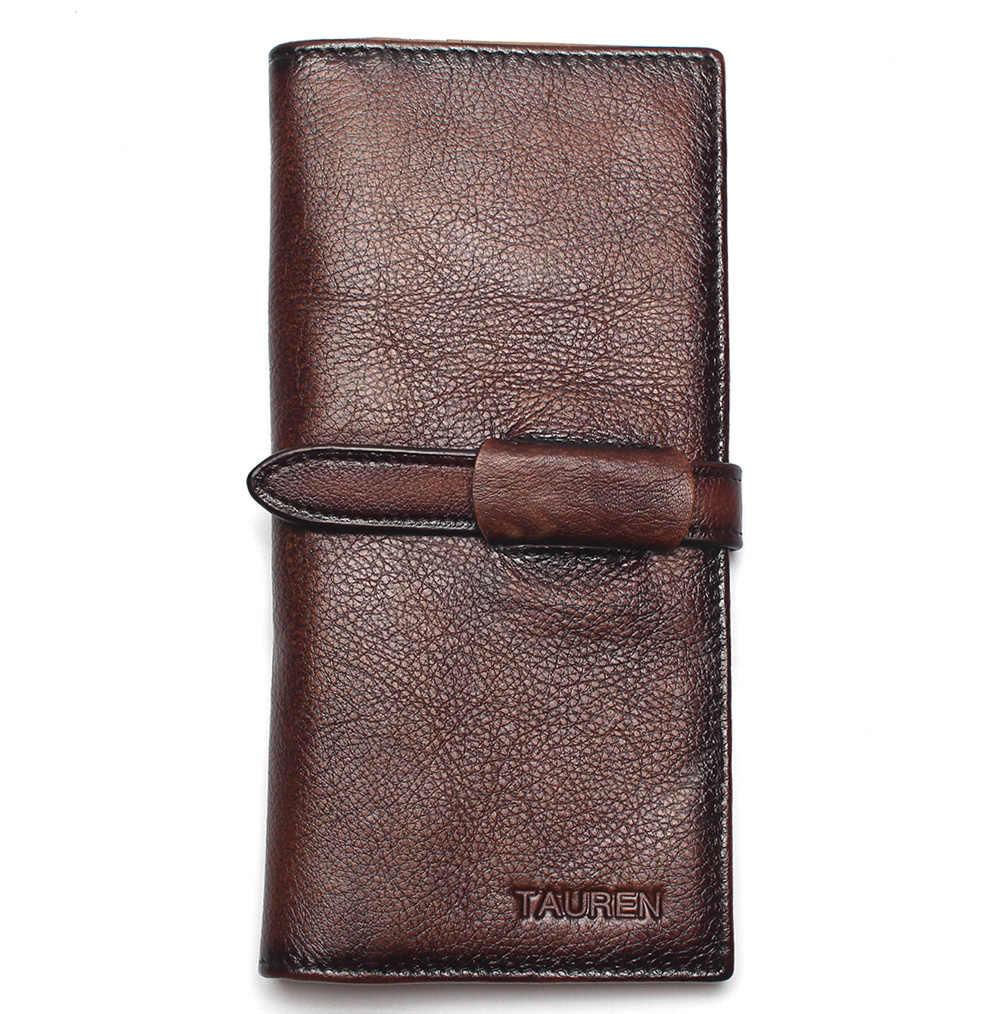 RFID bloqueo Dip Dye 100% cuero natural Retro Vintage Color sólido hombres billetera larga monedero Vintage diseñador hombres carteras