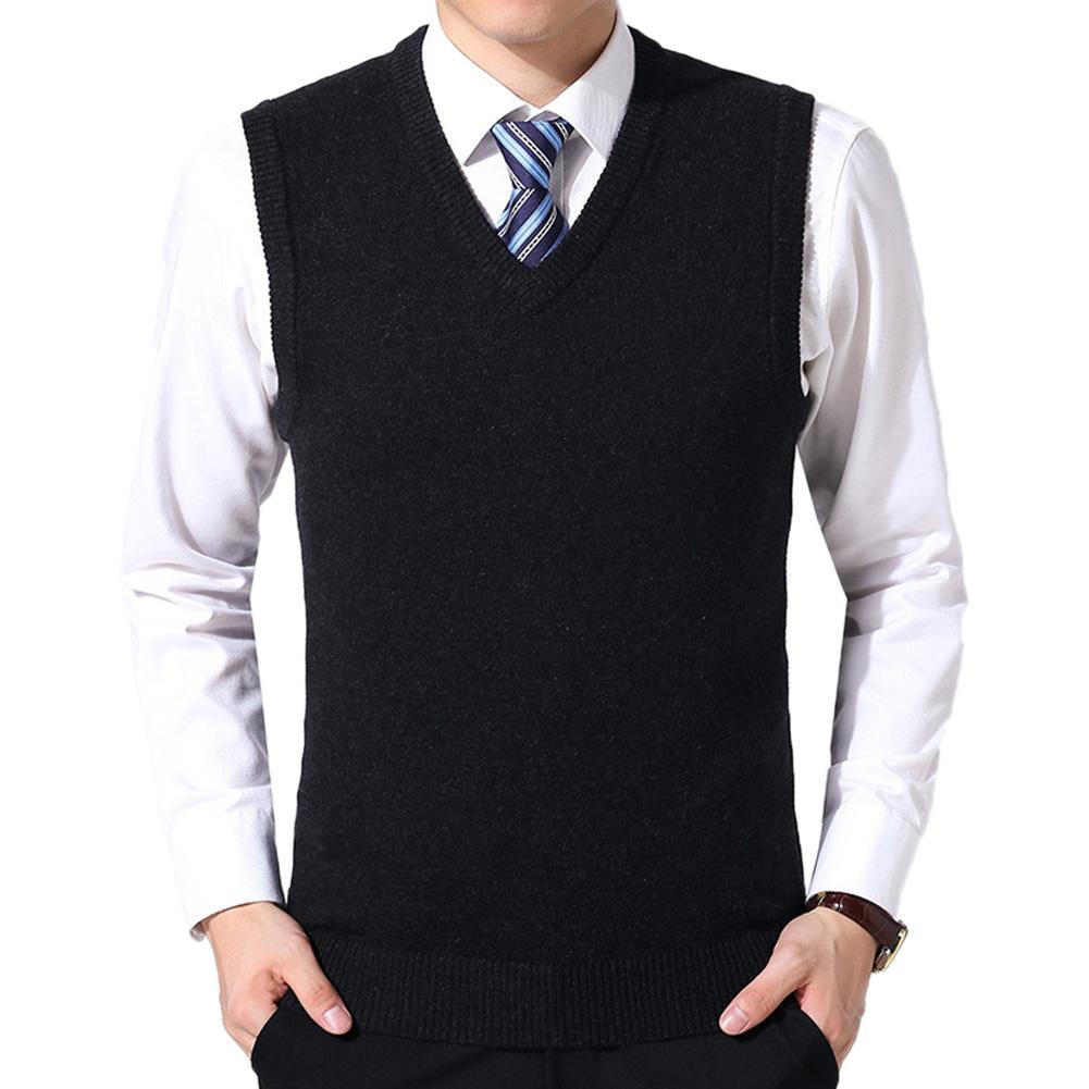 Men Casual Winter Solid Color V Neck Sleeveless Knitted Woolen Plus Size Vest