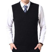 Мужчины повседневная зима однотонный цвет V вырез без рукавов вязаный шерстяной плюс размер жилет