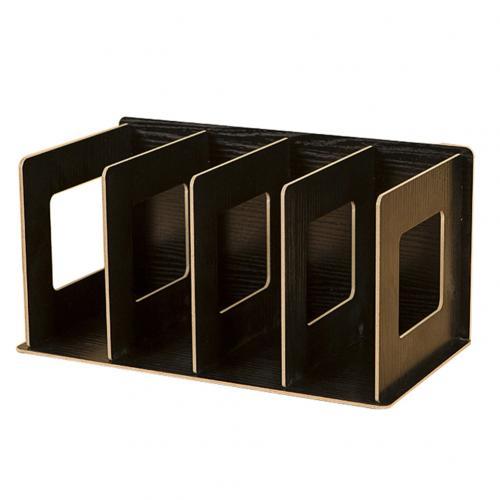 Простая многоярусная книжная полка 4 сетки оригинальная полка для хранения книжные мелочи DIY деревянный шкаф настольная подставка для книг домашняя детская книга - Цвет: Черный