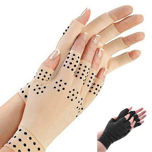 1 paire de gants sans doigts de thérapie magnétique pour le soulagement de la douleur articulaire