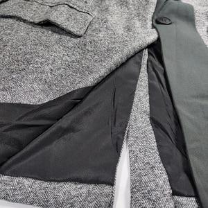 Image 5 - CHEERART Wool Blazer Designer Coat Women Blazers And Jackets Grey Patchwork Ladies Long Blazers Fashion Coat Autumn 2019