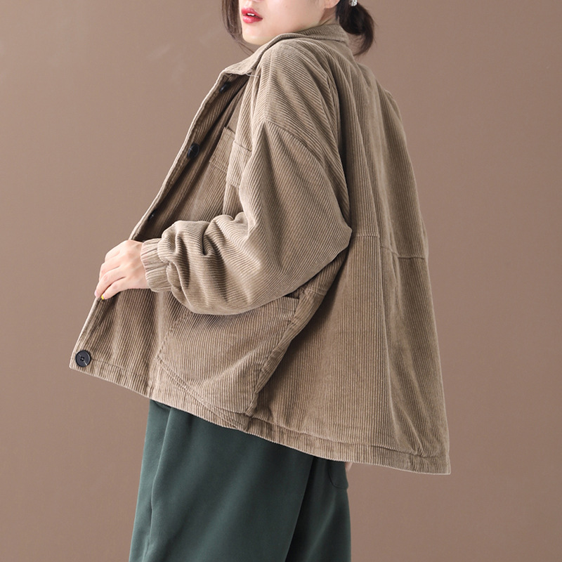 New Fall And Winter Clothes 2019 New Style Korean-style Loose And Plus-sized Literature And Art Thick Quilted Corduroy Cotton-pa
