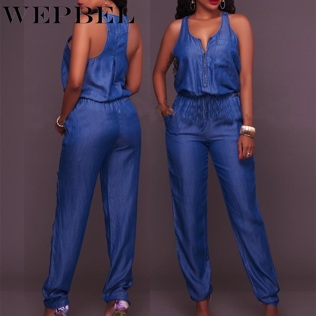 WEPBEL Women Jumpsuits Jeans Denim Overalls Shirt Rompers Girls Pants Jeans Bodysuit