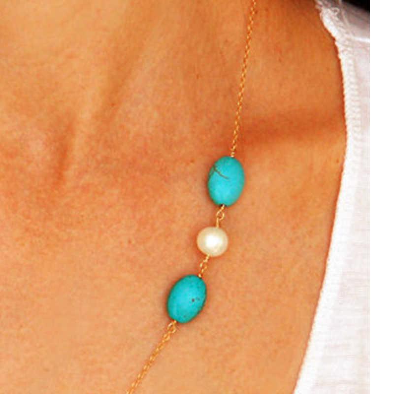 2019 Trendy Boho biżuteria Pearl Choker naszyjniki i wisiorki Link Chain naszyjnik dla kobiet i mężczyzn Rotro naszyjnik