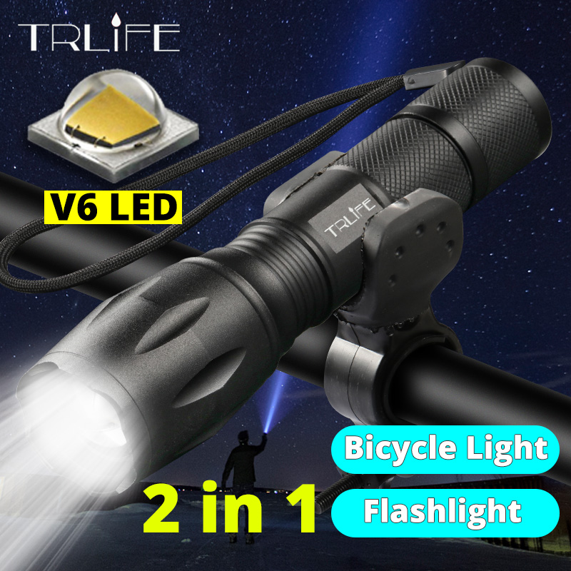 Lanterna V6 L2 Tactical Flashlight Torch Zoomable LED Flash Light Lamp 5Modes Use 3xAAA Or 1x 18650 Rechargeable Battery