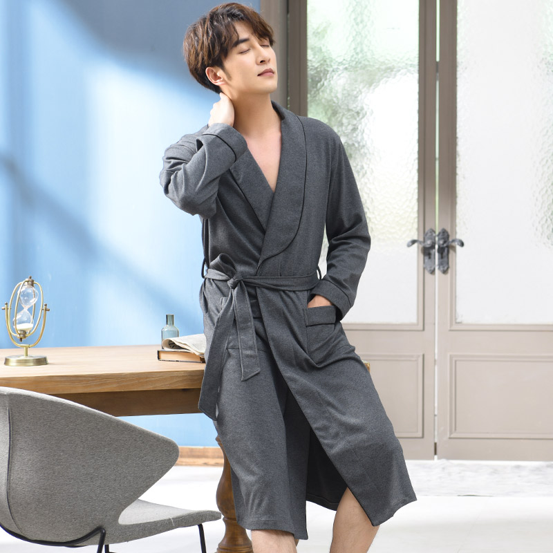 Pure Cotton Winter Autumn Casual Tracksuit Male Nightwear Men Bathrobe Belt Elegant Bathroom Spa Thick Men Robe Plus Size M-3XL