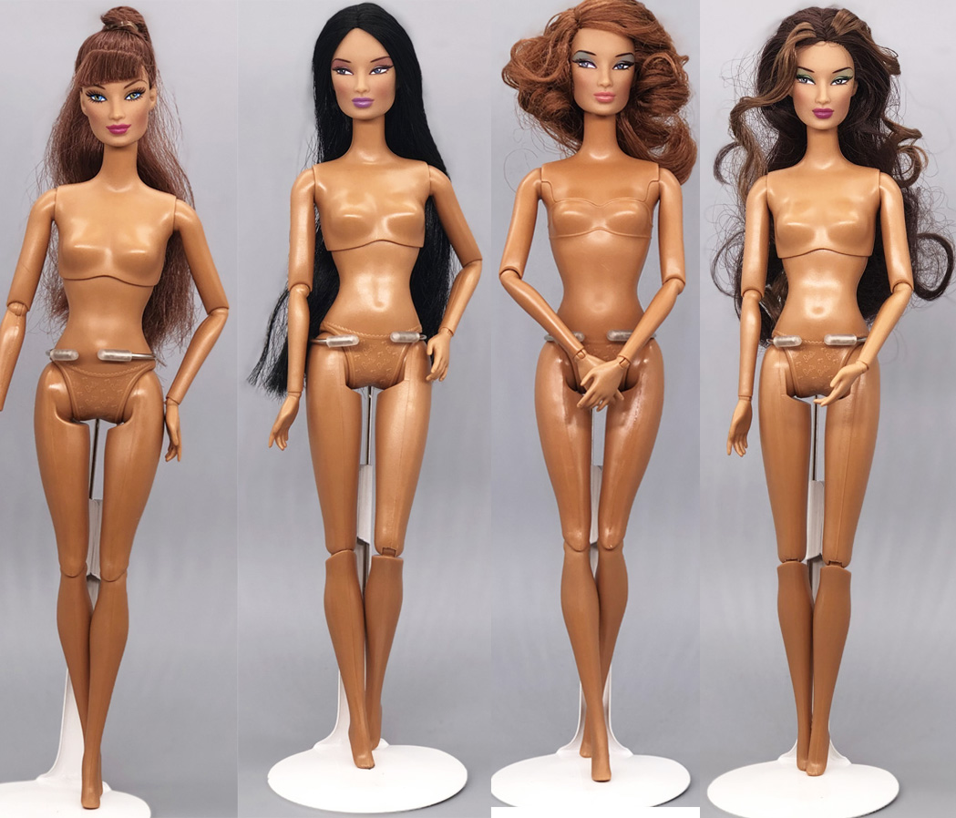 Original Nude FR Face Doll / Brown Skin Long Curly Hair Naked Doll / For 1/6 Doll 30cm