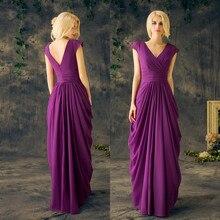 Mother Of The Bride Dresses Formal Long Gowns Purple Chiffon A Line Floor Length Pleats Party Dresses For Women robes de soirée