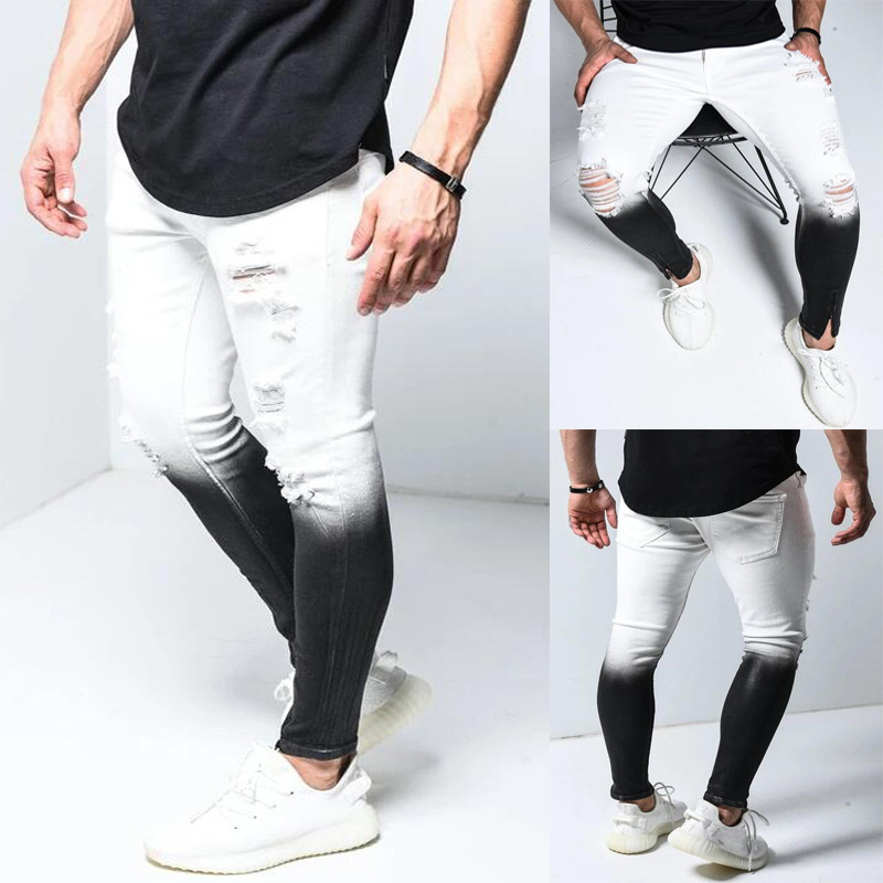 Gradient Color Ripped Jeans Men Casual Slim Fit Mens Skinny Jeans Homme Brand Motor Biker Hip Hop Zipper Denim Pants Trousers