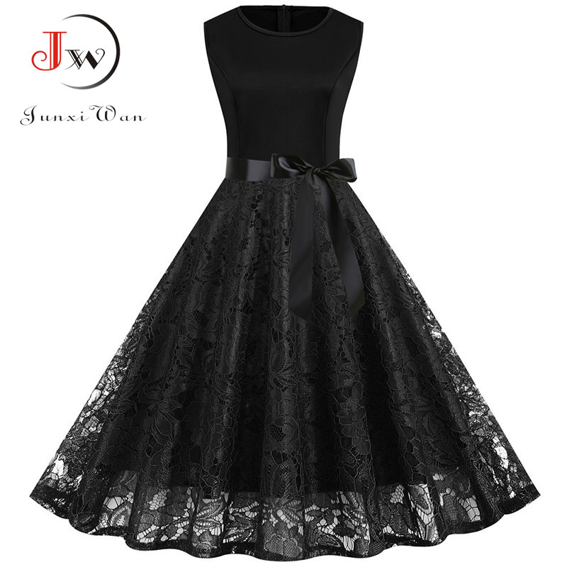 Elegant Slim Lace Party Dress Women Summer Casual Sleeveless Black Vintage A-line Midi Office Dresses Robe Femme Plus Size S~3XL