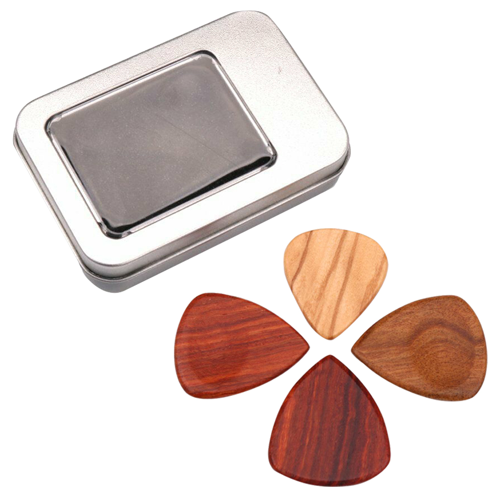 4Pcs Heart Shape Wooden Gift Finger Nail Guitar Pick Set Musical Instrument Accessories Smooth Storage Box Plectrum Ukulele