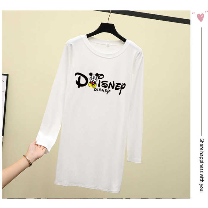 p36 2019 plus size good quality hot new autumn long sleeve letter Mickey print long T-shirt loose women wear outside top