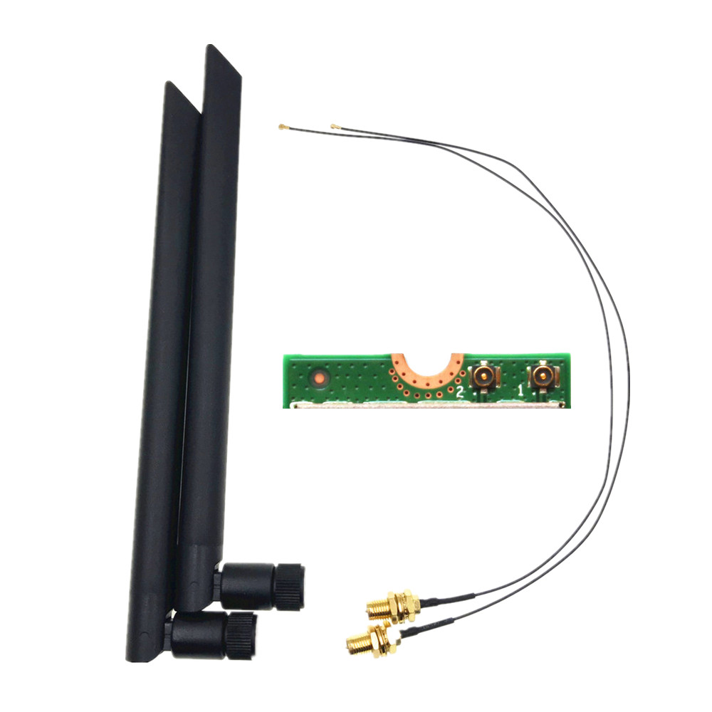 2 x 6dBi Dual Band M.2 IPEX MHF4 U.fl RP-SMA Wifi Antenna Set for Intel AX200 AX201 9260 9560 8265 8260 7265 7260 NGFF M.2 Card(China)
