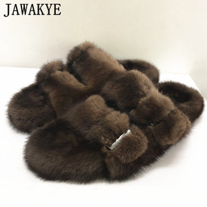 Image 1 - Luxurious Mink Fur Slippers One Strap Flat Feather Slides Outdoor 2020 Spring New Casual Mules Flipflops Coffee Brown Sandals