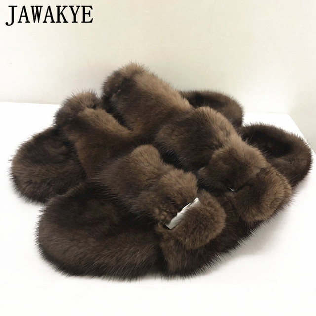 Luxurious Mink Fur Slippers One Strap Flat Feather Slides Outdoor 2020 Spring New Casual Mules Flipflops Coffee Brown Sandals