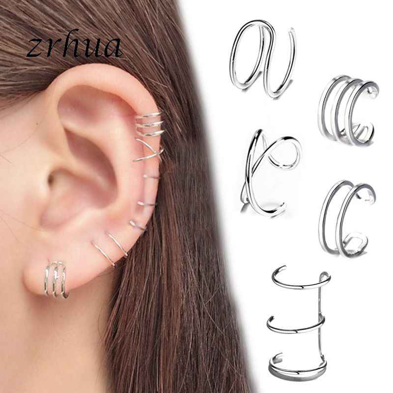 Fashion No Pierced Ear Clip Cross C Shape Clip On Earrings Ear Cuff Women Earrings 925 Sterling Silver Jewelry Ear Wrap Earcuff
