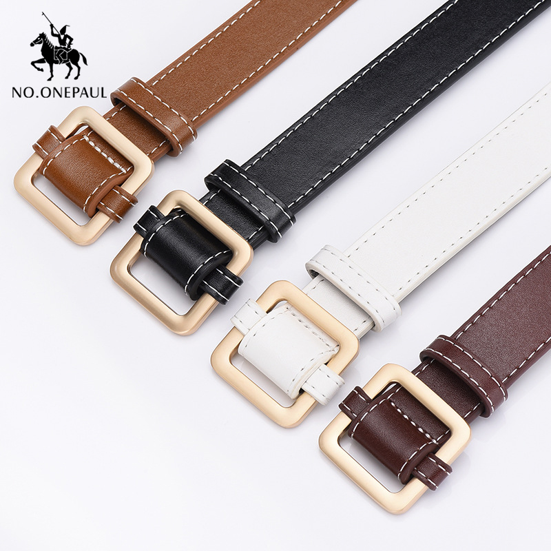 NO.ONEPAUL Women's Authentic Fashion Leather Belt Alloy Material Square Buckle Ladies Retro High Quality Belt Wild Trend Jeans