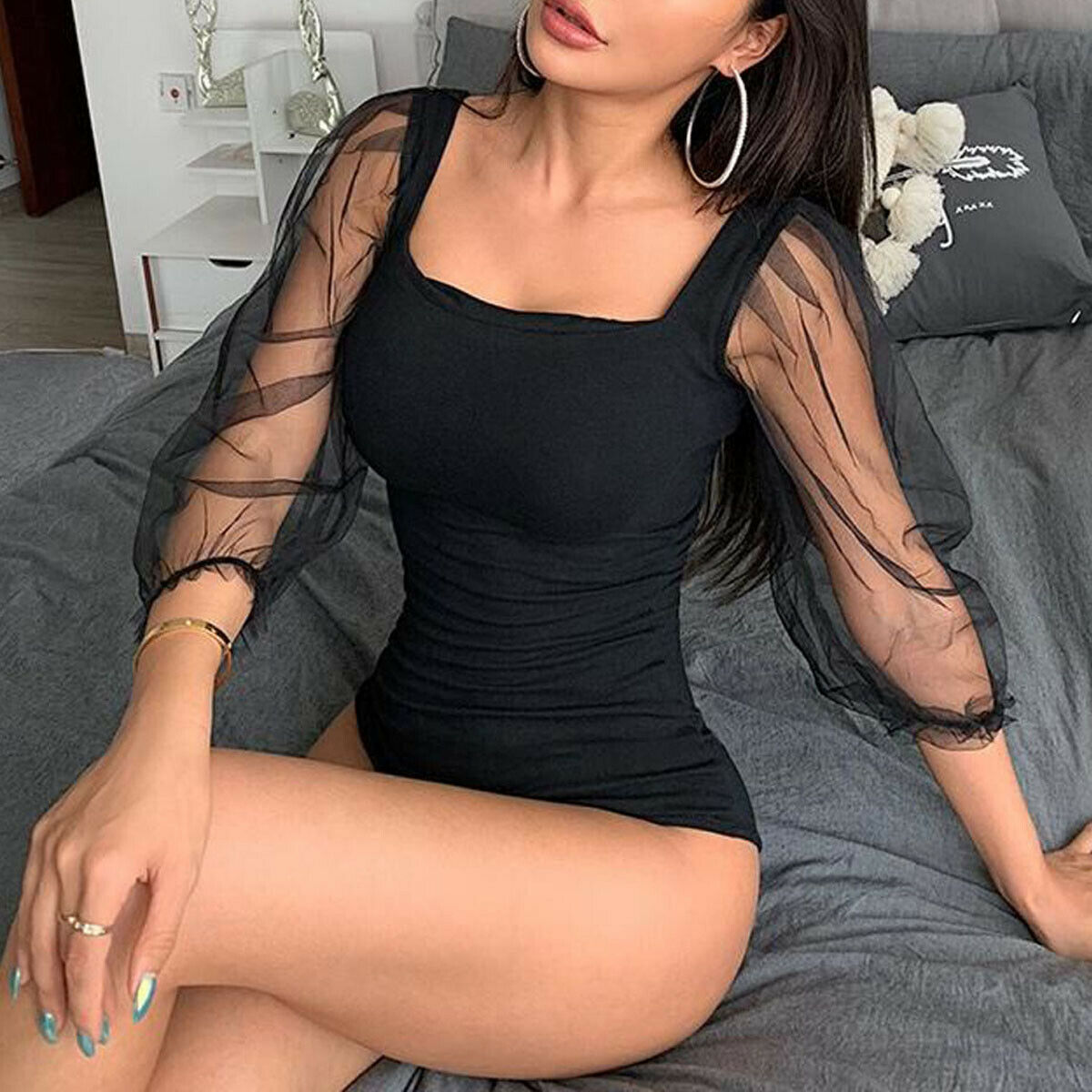 Sexy Women Mesh See-through Puff Tulle Sleeve Square neck Bodycon Leotard Bodysuit Romper Jumpsuit