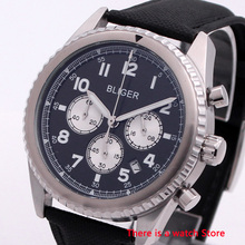 Bliger 45mm Quartz Watch Chronograph Date Function Rotating Bezel 24 Hours Luxury Brand Sport Fashion Leather Strap Men Watch