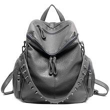 Women Backpack Purse 3 ways PU Washed Leather Rivet Studded