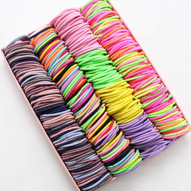 <font><b>100</b></font> PCS Rubber Band Cute Colors Elastic <font><b>Hair</b></font> Bands <font><b>Hair</b></font> Headband For Girl 3CM Female Rubber <font><b>Ties</b></font> Women <font><b>Hair</b></font> <font><b>Hair</b></font> Accessories image
