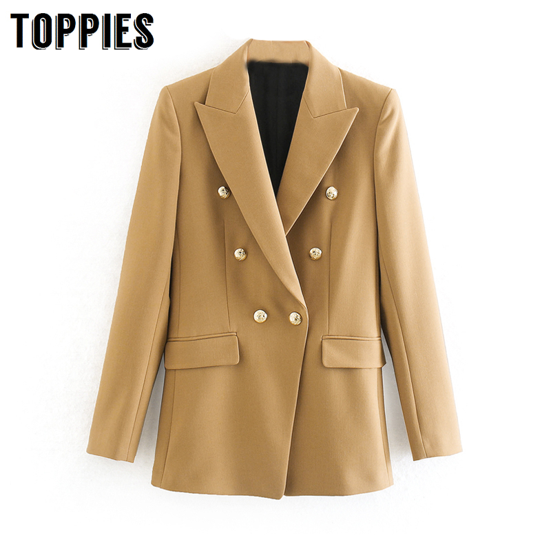 2020 Spring Double Breasted Suit Jacket Women Formal Blazer Office Lady Notched Collar Jacket