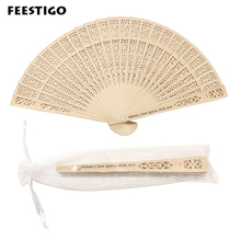 50pcs Personalized Wooden hand fan Wedding Favors and Gifts For Guest sandalwood fans Decoration Folding Hand Fans