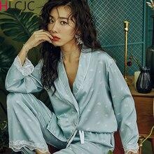 2020 섹시한 레이스 잠옷 세트 여성용 실크 데이지 프린트 잠옷 Pijamas Sleepwear 새틴 세트 Night Suit Nightwear Cute Home Clothes